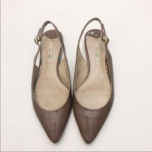 Biden Pointed Toe Sling Back Patent Taupe Flats 38